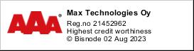 Max Technologies Oy | Y-tunnus 2145296-2 | Highest Credit Worthiness